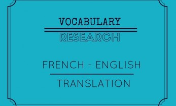 Vocabulary research in French English translation