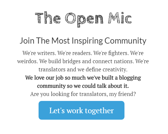 how to find friends and colleagues on The Open Mic (find translators on theopenmic.co)