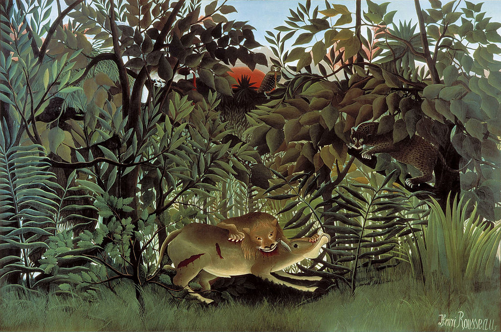Picture: The Hungry Lion Throws Itself on the Antelope, 1905, Henri Rousseau