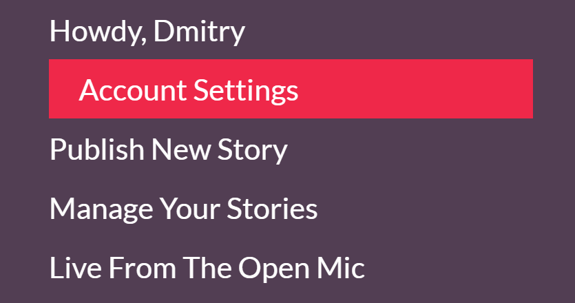 Developer Diary 14 How To Find Your Friends And Colleagues On The Open Mic - Account Settings Menu (find translators on theopenmic.co)