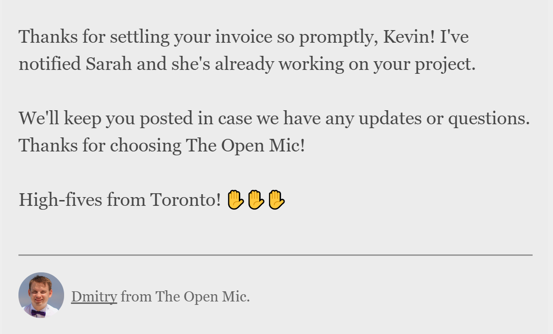 Thanks for settling your invoice. Find translators on The Open Mic (theopenmic.co)