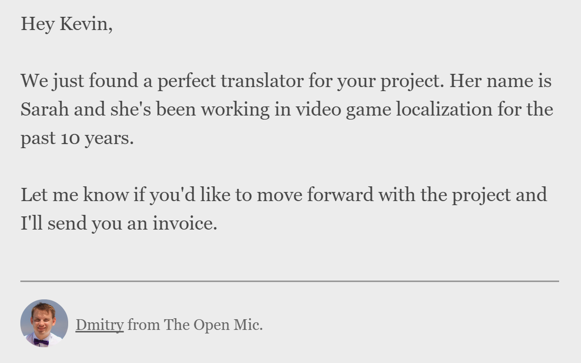 We just found a perfect translator for you (find translators on theopenmic.co) 2