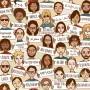 Hand gezeichnete Leute mit Danke-Schildern in verschiedenen Sprachen (seamless pattern / Hintergrundmuster)