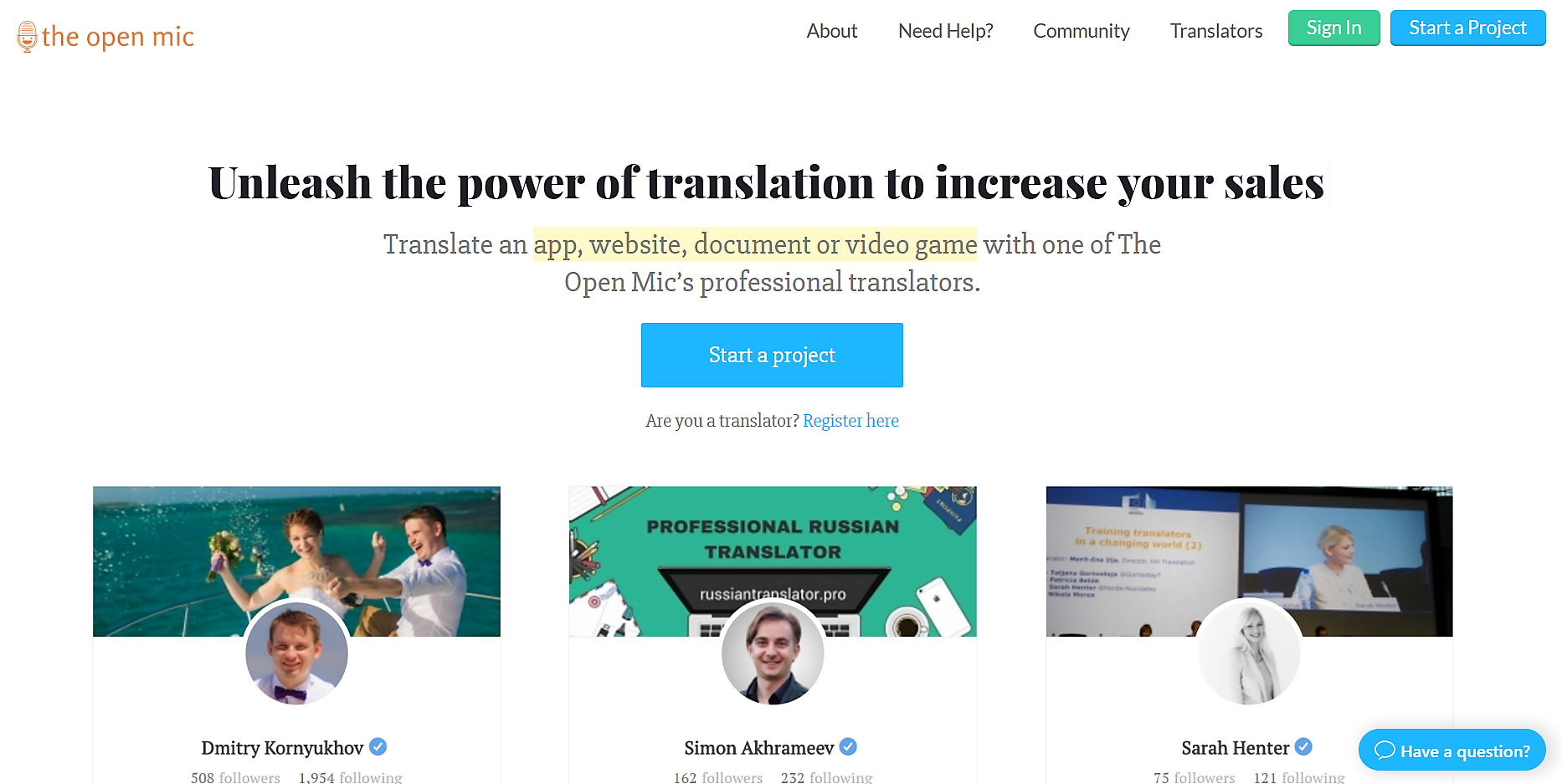 Find translators for your document, website, app, video game on The Open Mic (theopenmic.co)
